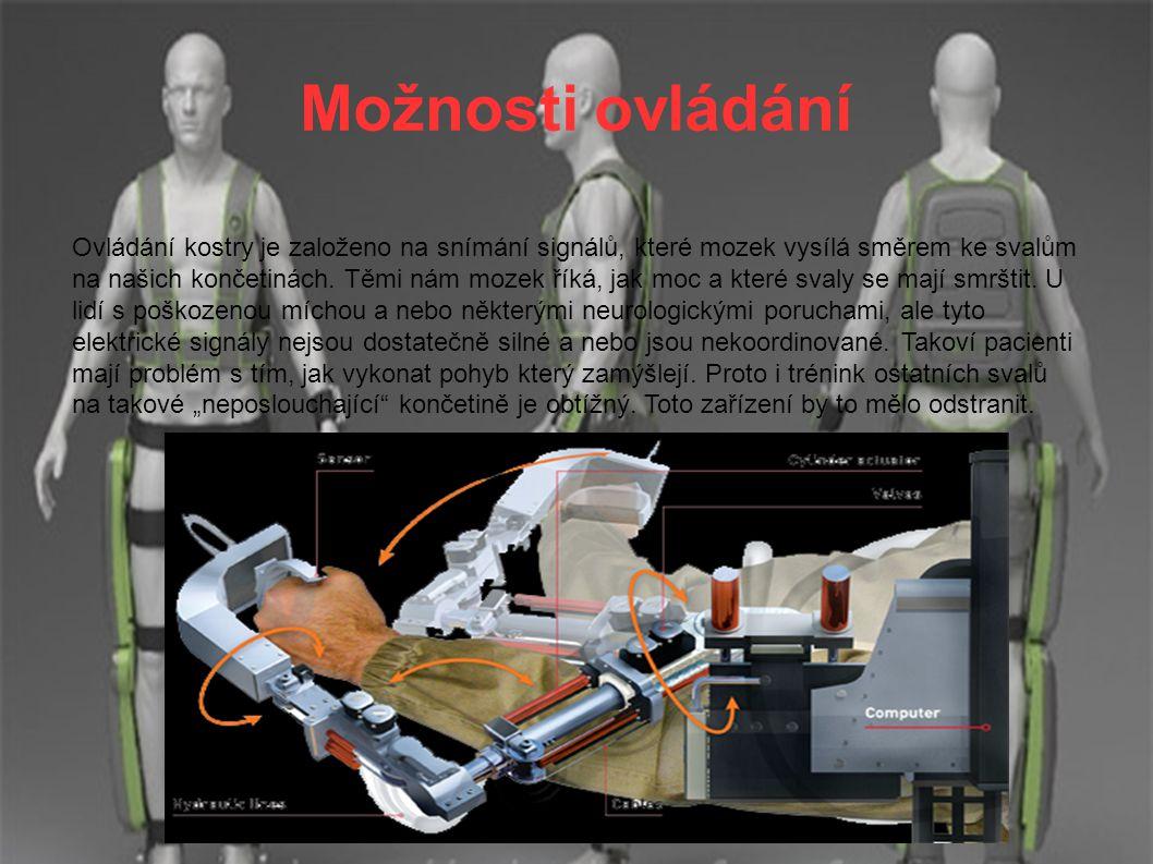 Rozdíl mezi rehabilitační ortézou a exoskeletem ● Typické robotické rehabilitační protézy jsou napojeny na počítač, který jim dává pokyny k pohybu.