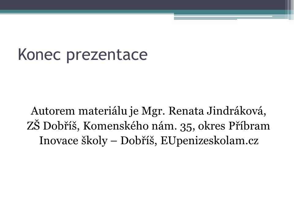 Konec prezentace Autorem materiálu je Mgr. Renata Jindráková, ZŠ Dobříš, Komenského nám.