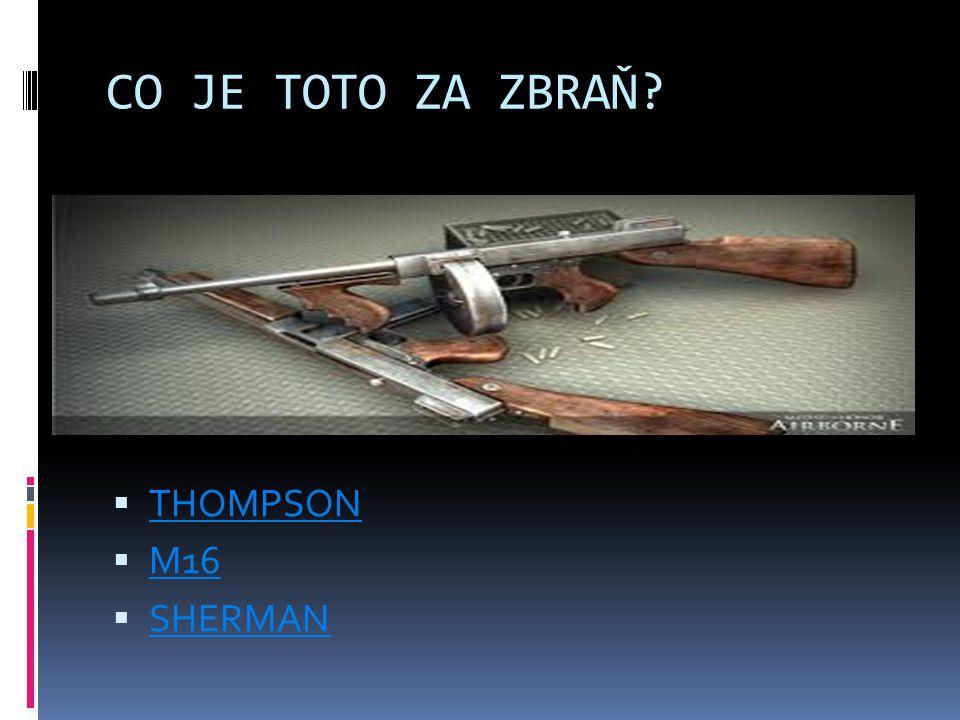 CO JE TOTO ZA ZBRAŇ?  THOMPSON THOMPSON  M16 M16  SHERMAN SHERMAN