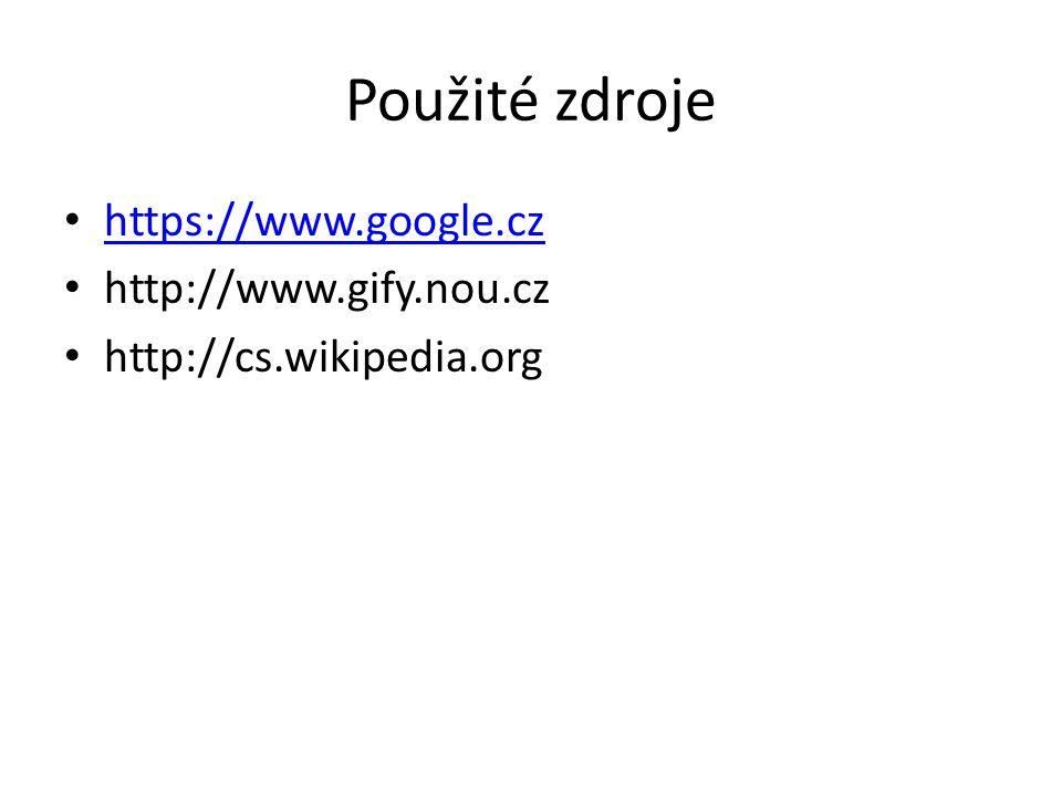 Použité zdroje https://www.google.cz http://www.gify.nou.cz http://cs.wikipedia.org