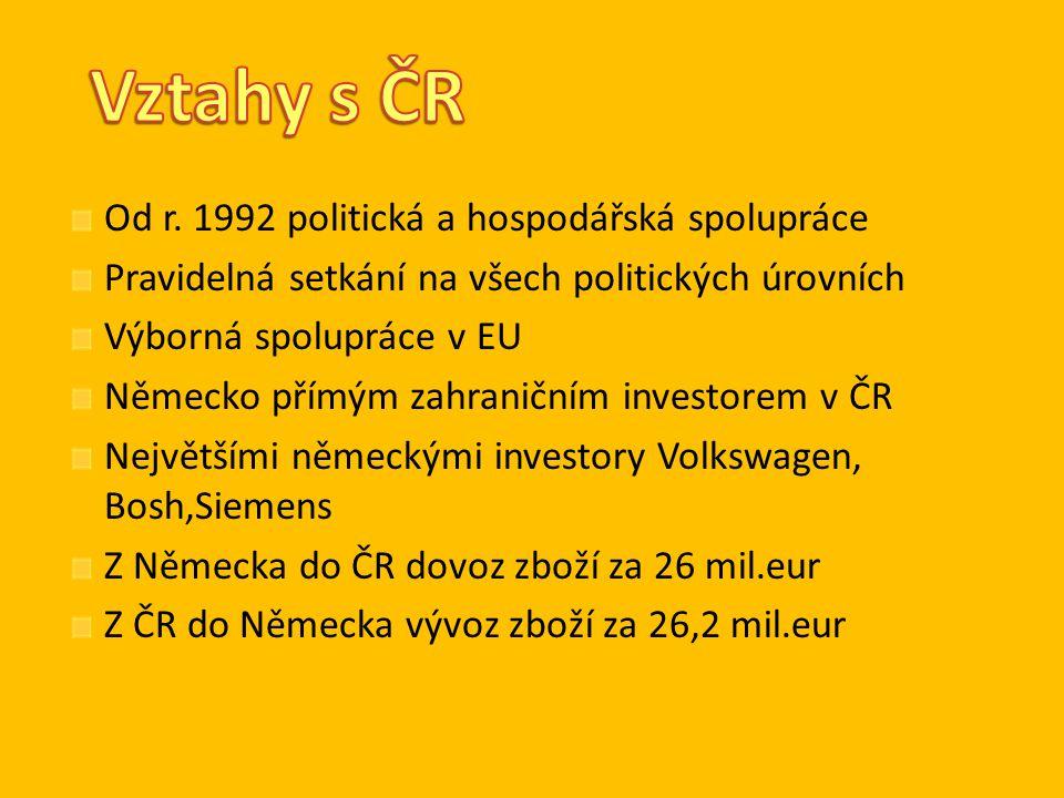 Od r. 1992 politická a hospodářská spolupráce Pravidelná setkání na všech politických úrovních Výborná spolupráce v EU Německo přímým zahraničním inve
