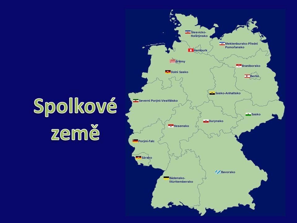 Spolková zeměHlavní městoRozlohaPočet obyvatel 1Bádensko-WürttenberskoStuttgart35.751,6510.717.000 2Svobodný stát BavorskoMnichov70.549,1912.444.000 3Země BerlínBerlín891,753.388.000 4Země BraniborskoPostupim29.477,162.568.000 5Svobodné a hanzovní město BrémyBrémy404,23663.000 6Svobodné a hanzovní město HamburkHamburk755,161.735.000 7Země HesenskoWiesbaden21.114,726.098.000 8Země Přední PomořanskoSchwerin23.174,171.720.000 9Země Dolní SaskoHanover47.618,248.001.000 10Země Severní Porýní-VestfálskoDüsseldorf34.042,5218.075.000 11Země Porýní-FalcMohuč19.847,394.061.000 12Země SárskoSaarbrücken2.568,651.056.000 13Svobodný stát SaskoDrážd'any18.414,824.296.000 14Země Sasko-AnhaltskoMagdeburk20.445,262.494.000 15Země Šlesvinsko-HolštýnskoKiel15.763,182.829.000 16Svobodný stát DurynskoErfurt16.172,142.335.000