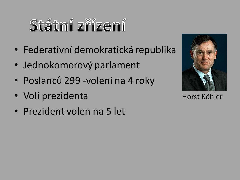 Federativní demokratická republika Jednokomorový parlament Poslanců 299 -voleni na 4 roky Volí prezidenta Horst Köhler Prezident volen na 5 let