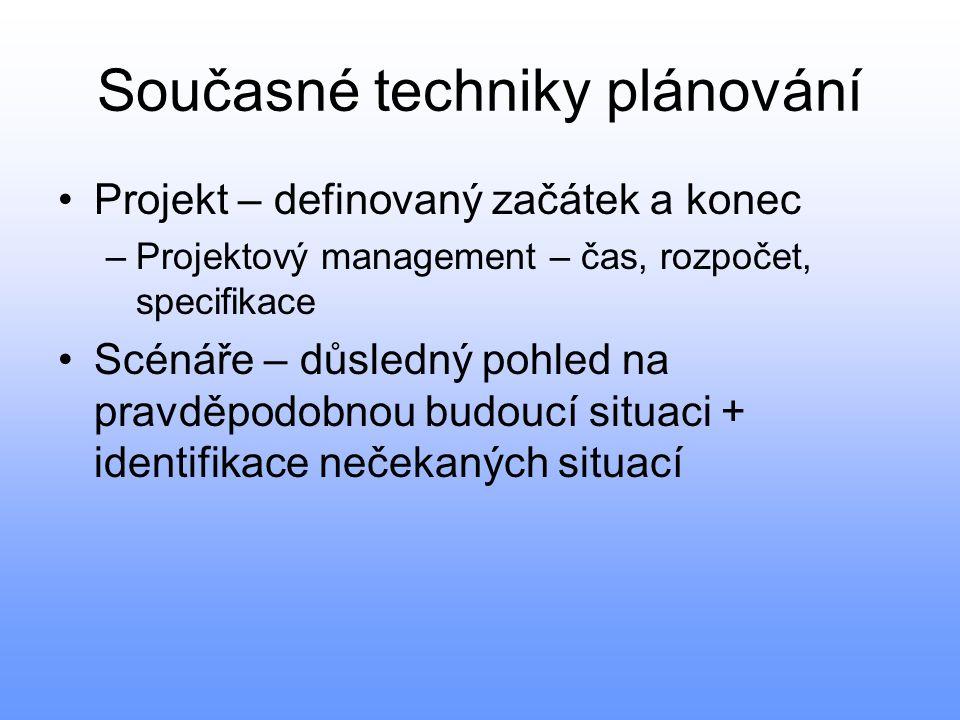 Současné techniky plánování Projekt – definovaný začátek a konec –Projektový management – čas, rozpočet, specifikace Scénáře – důsledný pohled na prav