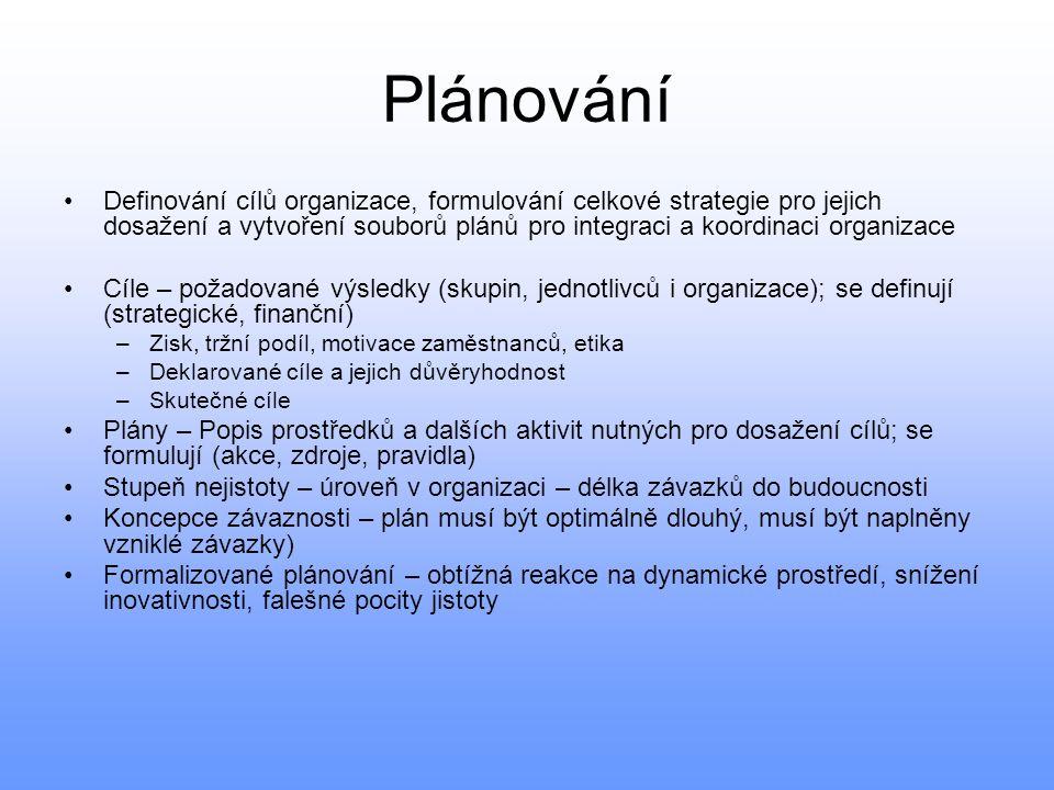 Plánování Definování cílů organizace, formulování celkové strategie pro jejich dosažení a vytvoření souborů plánů pro integraci a koordinaci organizac