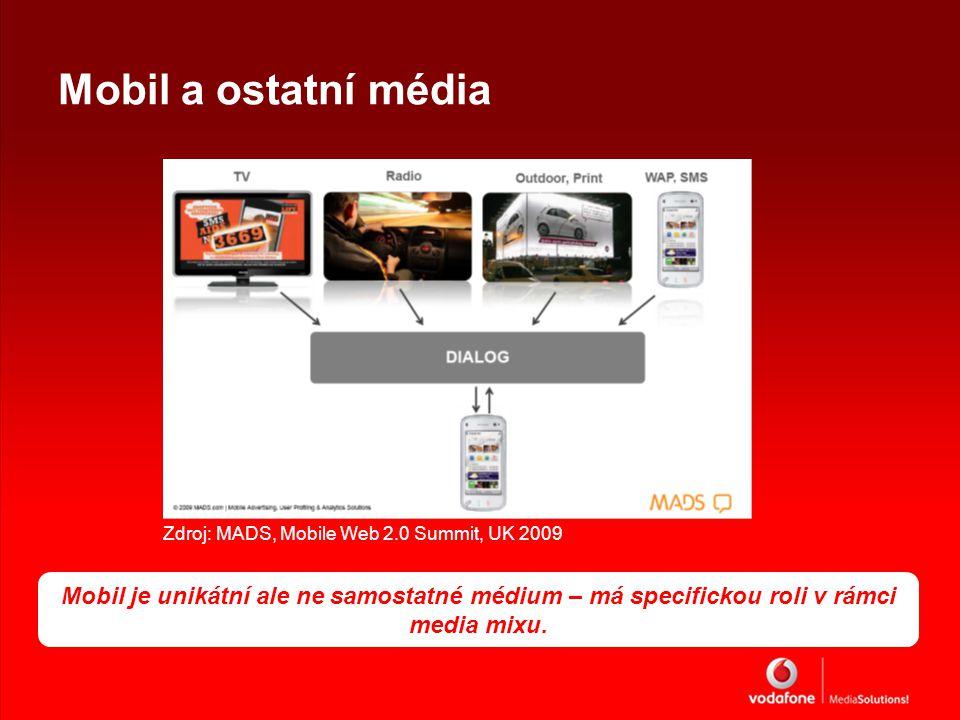 Mobil a ostatní média Zdroj: MADS, Mobile Web 2.0 Summit, UK 2009 Mobil je unikátní ale ne samostatné médium – má specifickou roli v rámci media mixu.