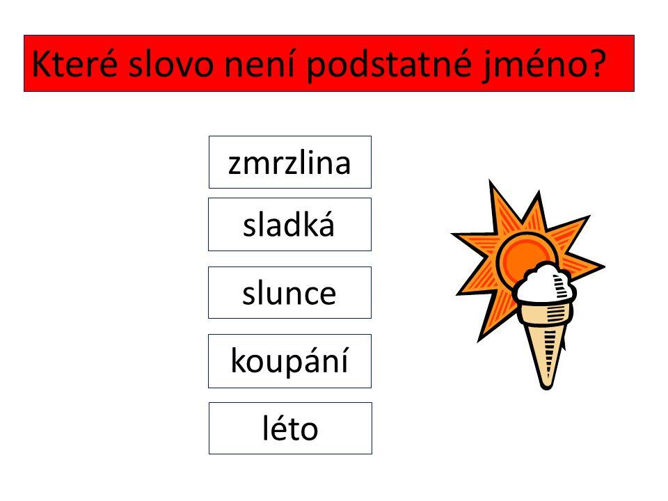 Které slovo není podstatné jméno? zmrzlina sladká slunce koupání léto