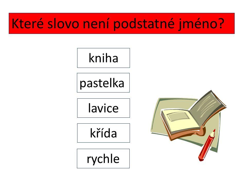 Které slovo není podstatné jméno? rychle pastelka křída lavice kniha