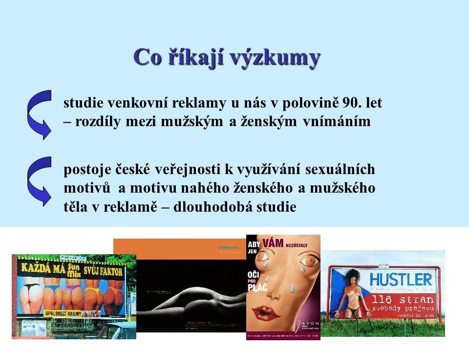 studie venkovní reklamy u nás v polovině 90. let – rozdíly mezi mužským a ženským vnímáním postoje české veřejnosti k využívání sexuálních motivů a mo