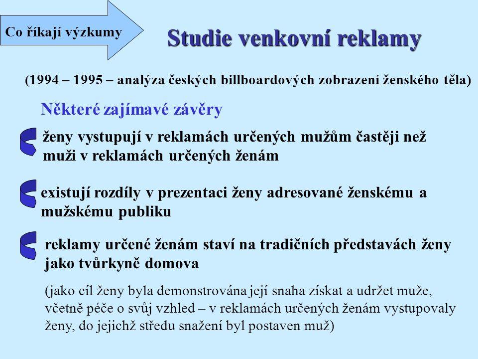 Studie venkovní reklamy ( 1994 – 1995 – analýza českých billboardových zobrazení ženského těla) Některé zajímavé závěry ženy vystupují v reklamách urč