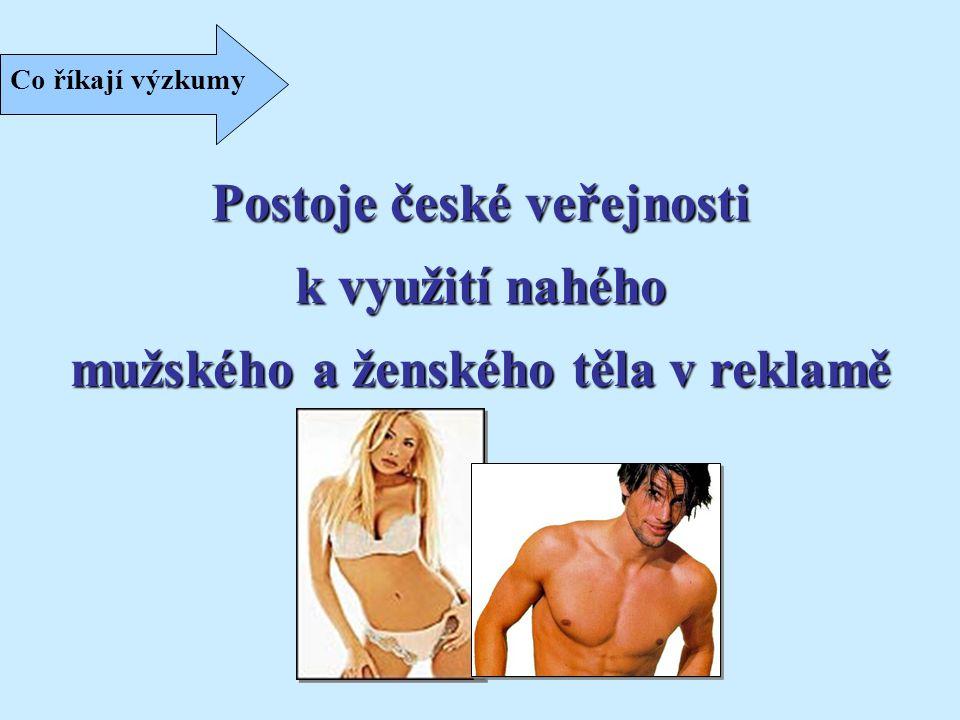 Co říkají výzkumy Postoje české veřejnosti k využití nahého mužského a ženského těla v reklamě