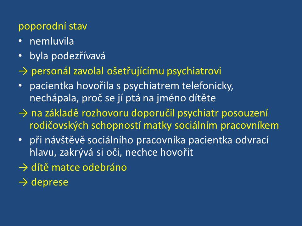 poporodní stav nemluvila byla podezřívavá → personál zavolal ošetřujícímu psychiatrovi pacientka hovořila s psychiatrem telefonicky, nechápala, proč s