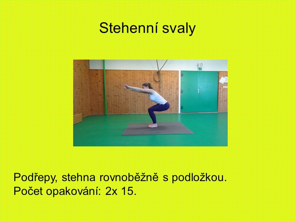 Stehenní svaly Podřepy, stehna rovnoběžně s podložkou. Počet opakování: 2x 15.