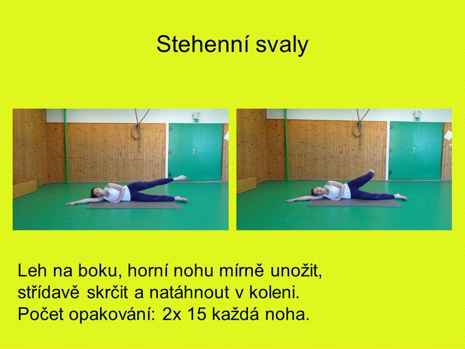 Stehenní svaly Leh na boku, horní nohu mírně unožit, střídavě skrčit a natáhnout v koleni. Počet opakování: 2x 15 každá noha.