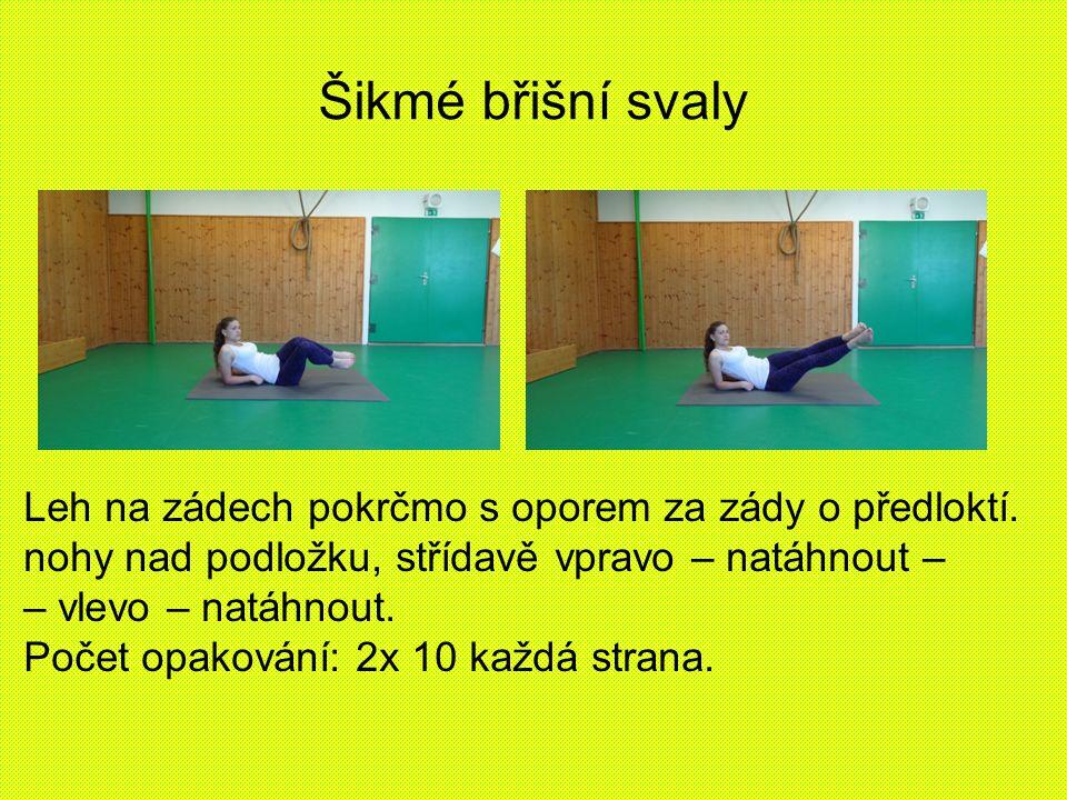 Šikmé břišní svaly Leh na zádech pokrčmo s oporem za zády o předloktí. nohy nad podložku, střídavě vpravo – natáhnout – – vlevo – natáhnout. Počet opa