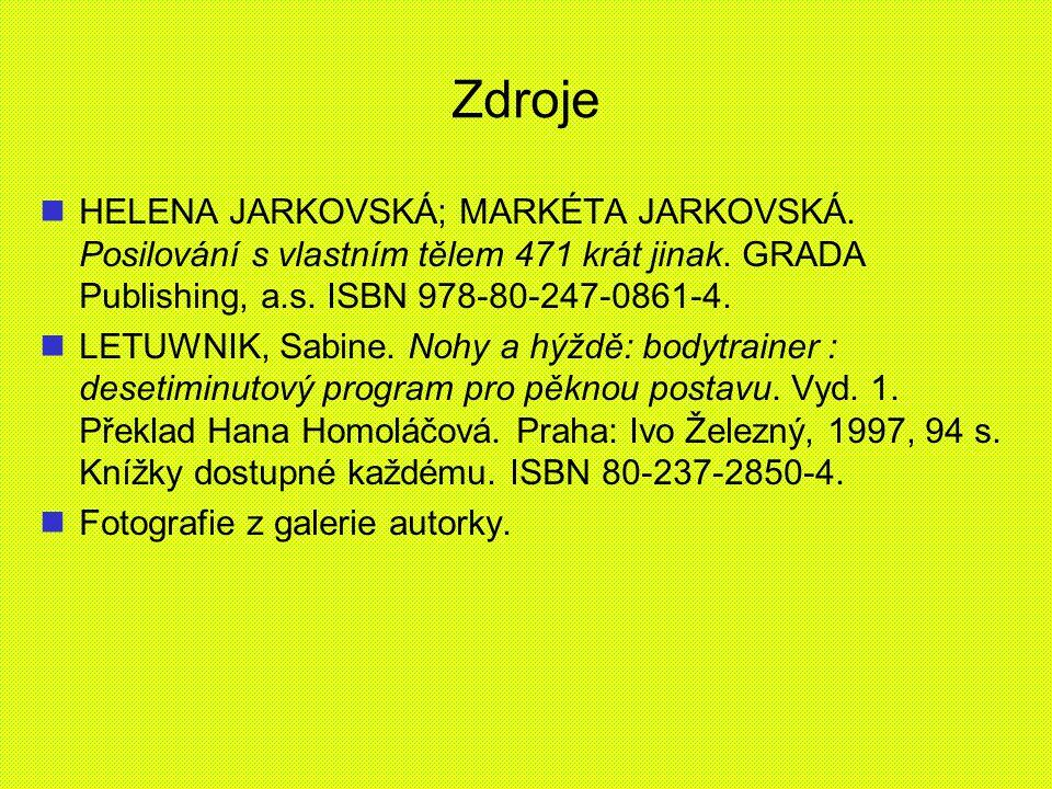 Zdroje HELENA JARKOVSKÁ; MARKÉTA JARKOVSKÁ. Posilování s vlastním tělem 471 krát jinak. GRADA Publishing, a.s. ISBN 978-80-247-0861-4. LETUWNIK, Sabin
