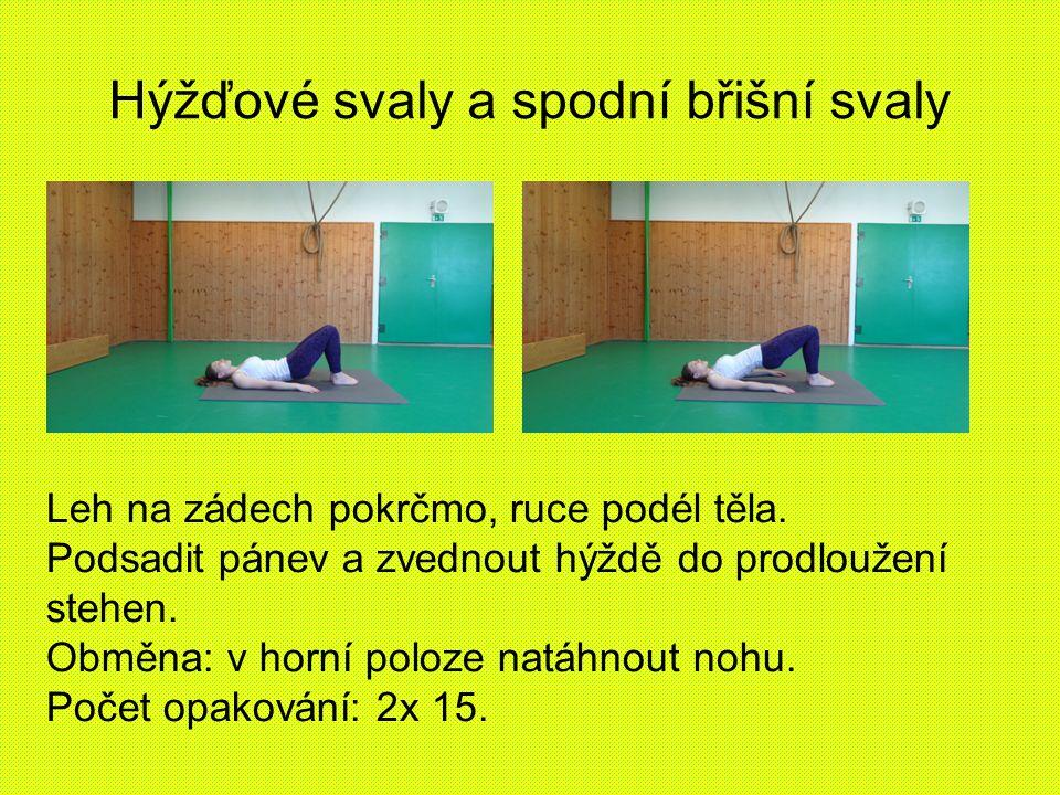 Hýžďové svaly a spodní břišní svaly Leh na zádech pokrčmo, ruce podél těla. Podsadit pánev a zvednout hýždě do prodloužení stehen. Obměna: v horní pol