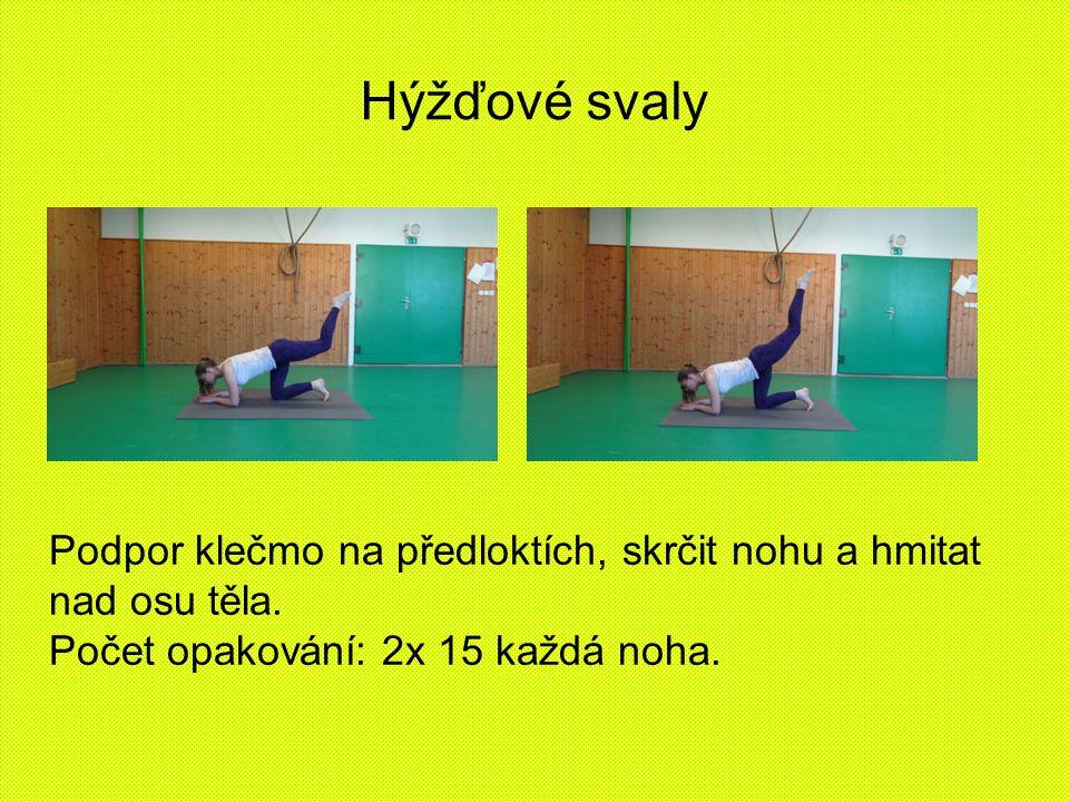 Hýžďové svaly Podpor klečmo na předloktích, skrčit nohu a hmitat nad osu těla. Počet opakování: 2x 15 každá noha.