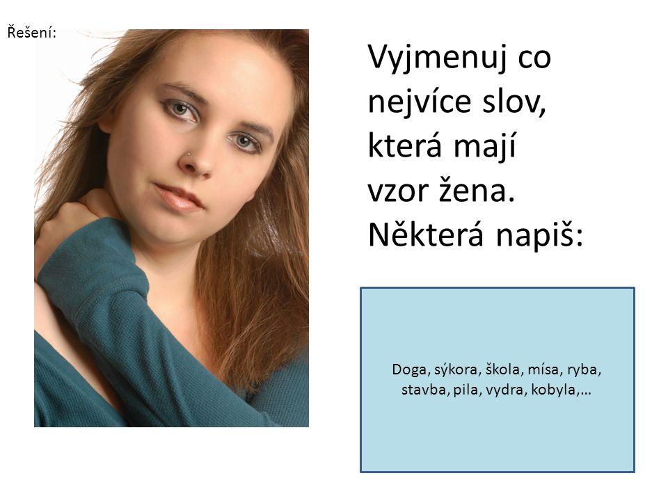 Vyjmenuj co nejvíce slov, která mají vzor žena. Některá napiš: Doga, sýkora, škola, mísa, ryba, stavba, pila, vydra, kobyla,… Řešení: