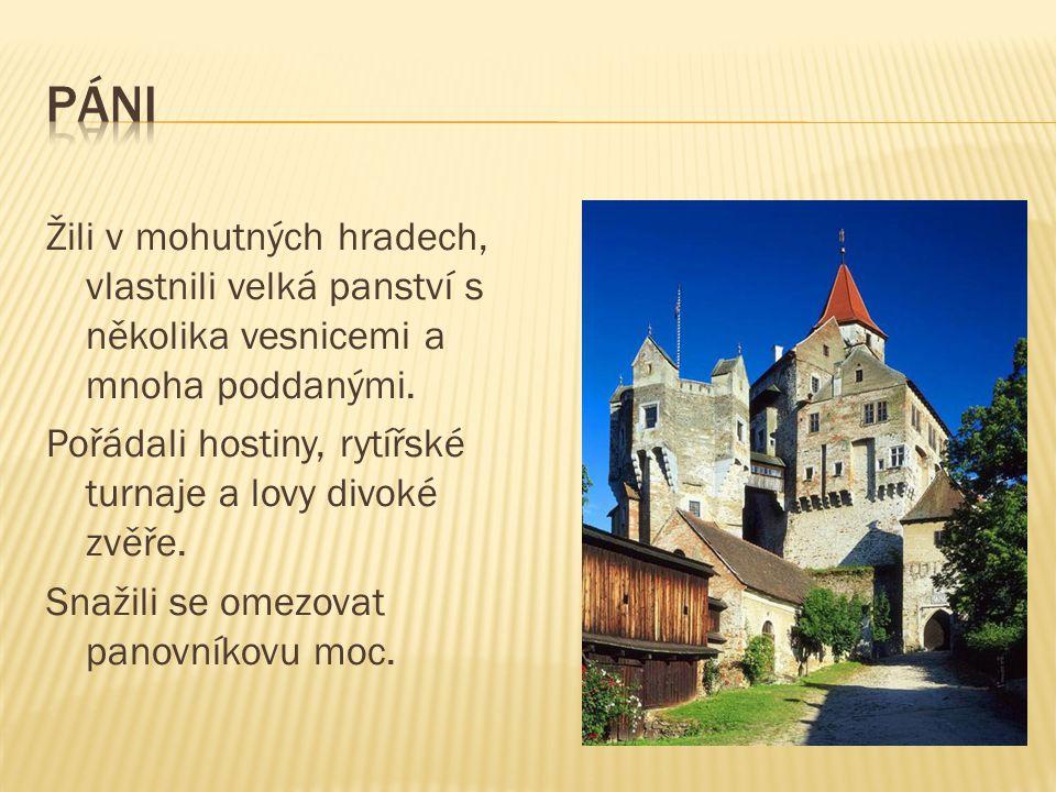 Žili v mohutných hradech, vlastnili velká panství s několika vesnicemi a mnoha poddanými. Pořádali hostiny, rytířské turnaje a lovy divoké zvěře. Snaž