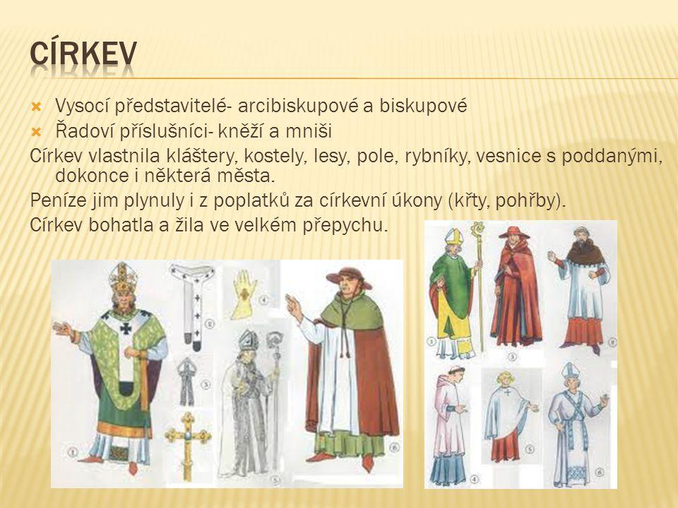 Vysocí představitelé- arcibiskupové a biskupové  Řadoví příslušníci- kněží a mniši Církev vlastnila kláštery, kostely, lesy, pole, rybníky, vesnice