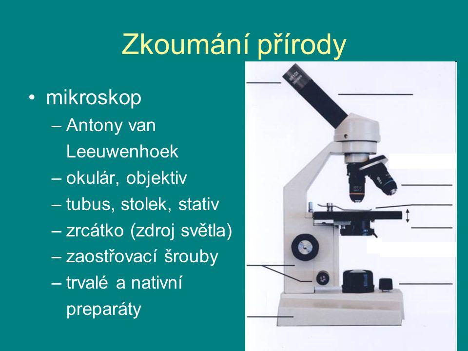 Zkoumání přírody mikroskop –Antony van Leeuwenhoek –okulár, objektiv –tubus, stolek, stativ –zrcátko (zdroj světla) –zaostřovací šrouby –trvalé a nati