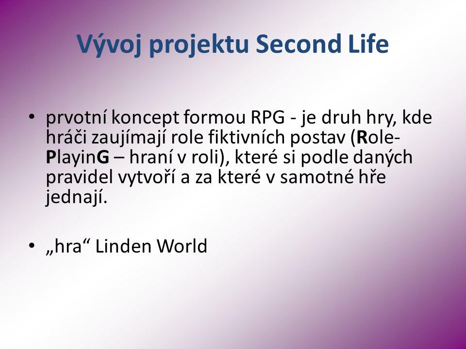 Vývoj projektu Second Life prvotní koncept formou RPG - je druh hry, kde hráči zaujímají role fiktivních postav (Role- PlayinG – hraní v roli), které si podle daných pravidel vytvoří a za které v samotné hře jednají.