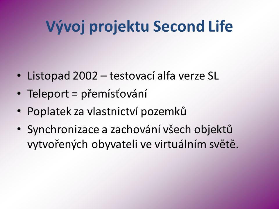 Vývoj projektu Second Life Listopad 2002 – testovací alfa verze SL Teleport = přemísťování Poplatek za vlastnictví pozemků Synchronizace a zachování všech objektů vytvořených obyvateli ve virtuálním světě.