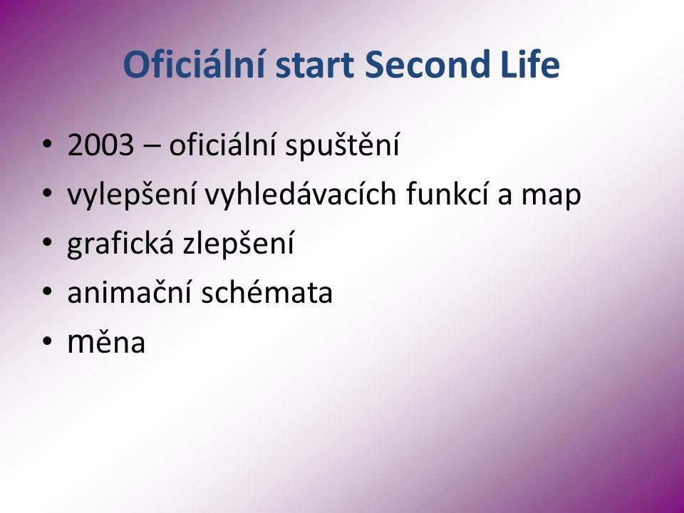 Oficiální start Second Life 2003 – oficiální spuštění vylepšení vyhledávacích funkcí a map grafická zlepšení animační schémata m ěna