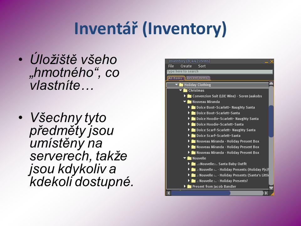 """Inventář (Inventory) Úložiště všeho """"hmotného , co vlastníte… Všechny tyto předměty jsou umístěny na serverech, takže jsou kdykoliv a kdekoli dostupné."""