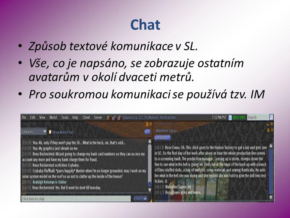 Chat Způsob textové komunikace v SL.