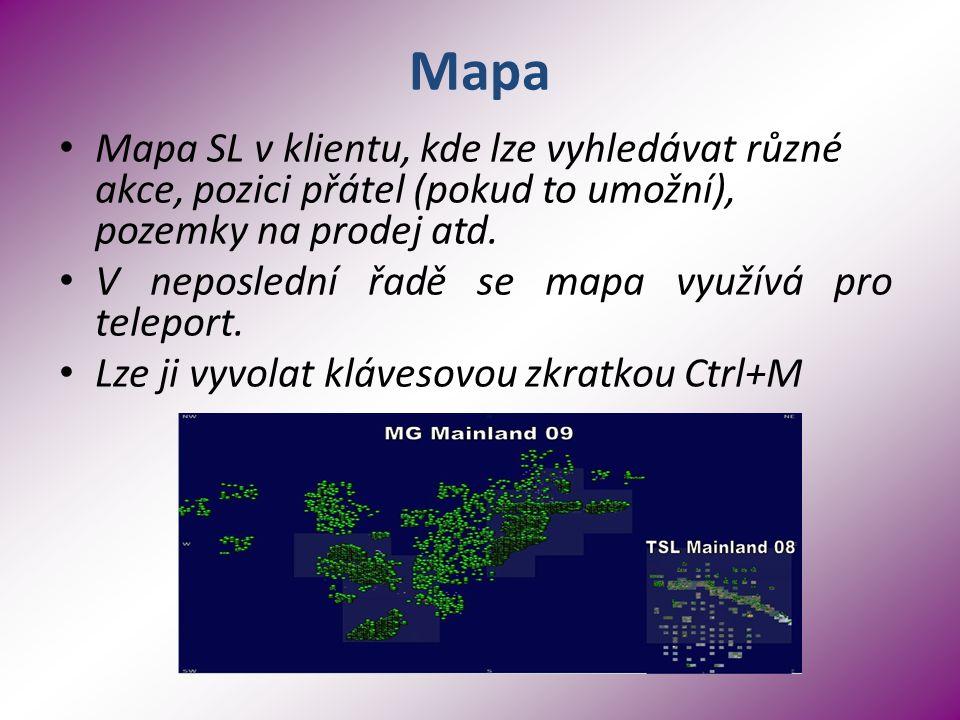 Mapa Mapa SL v klientu, kde lze vyhledávat různé akce, pozici přátel (pokud to umožní), pozemky na prodej atd.