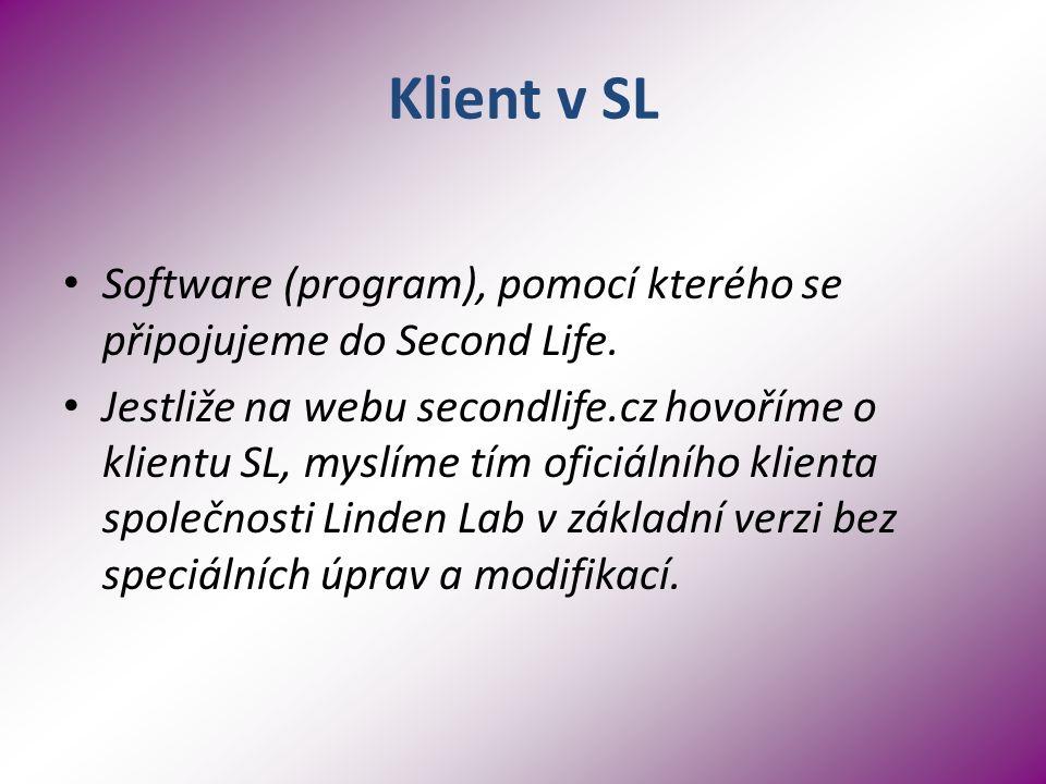 Klient v SL Software (program), pomocí kterého se připojujeme do Second Life.