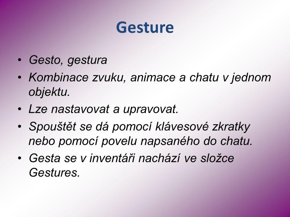 Gesture Gesto, gestura Kombinace zvuku, animace a chatu v jednom objektu.
