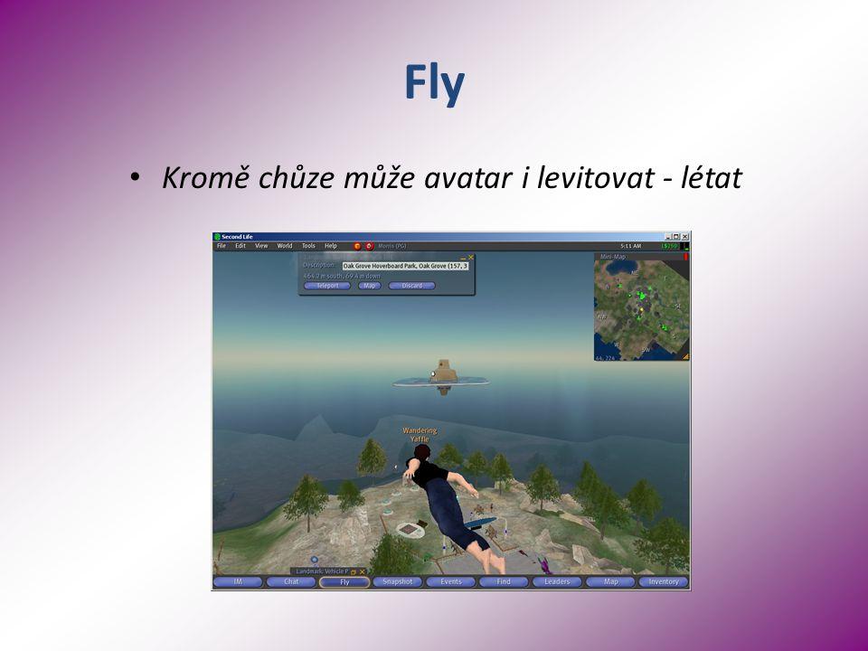 Fly Kromě chůze může avatar i levitovat - létat