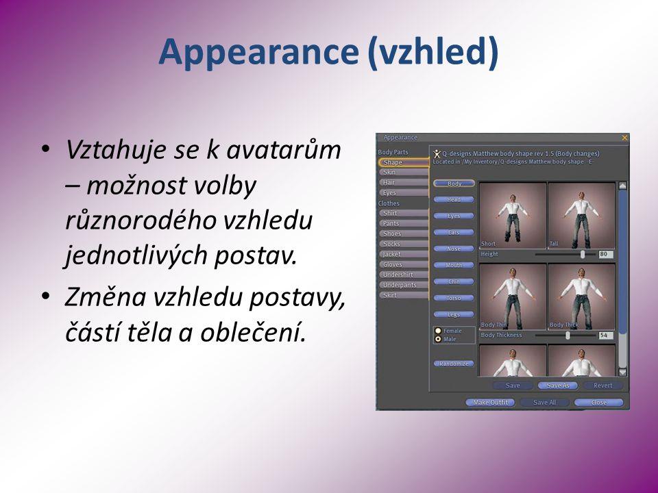 Appearance (vzhled) Vztahuje se k avatarům – možnost volby různorodého vzhledu jednotlivých postav.