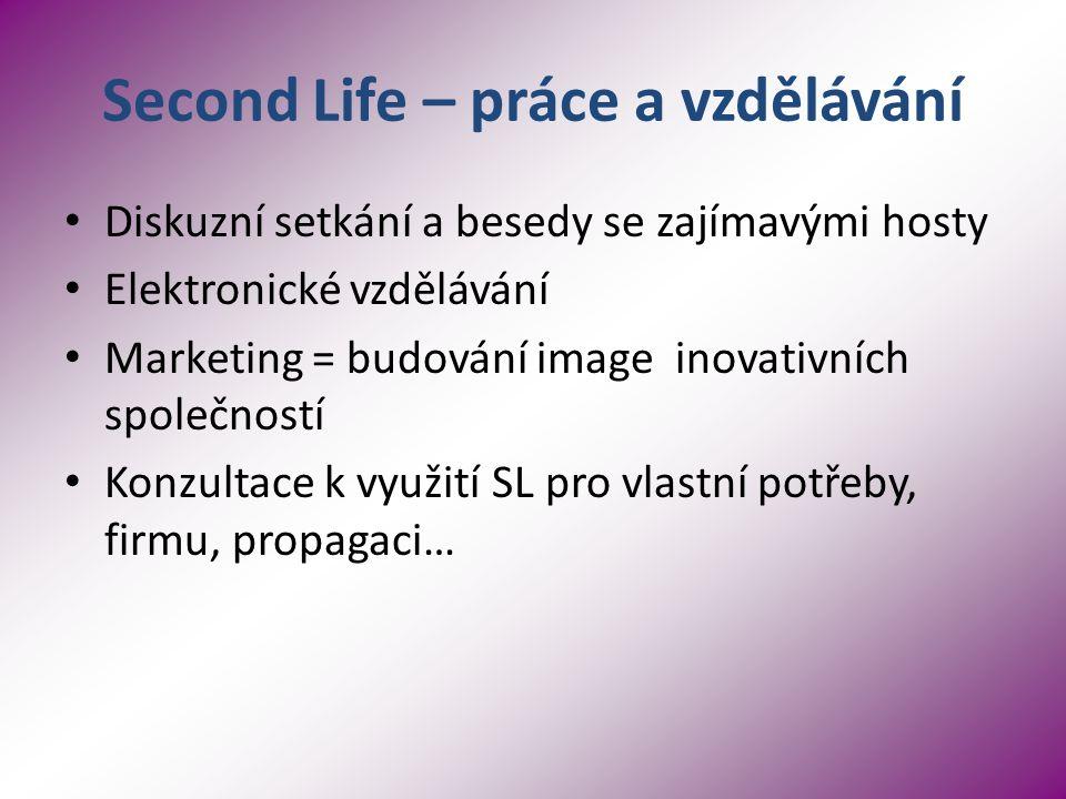 Second Life – práce a vzdělávání Diskuzní setkání a besedy se zajímavými hosty Elektronické vzdělávání Marketing = budování image inovativních společností Konzultace k využití SL pro vlastní potřeby, firmu, propagaci…