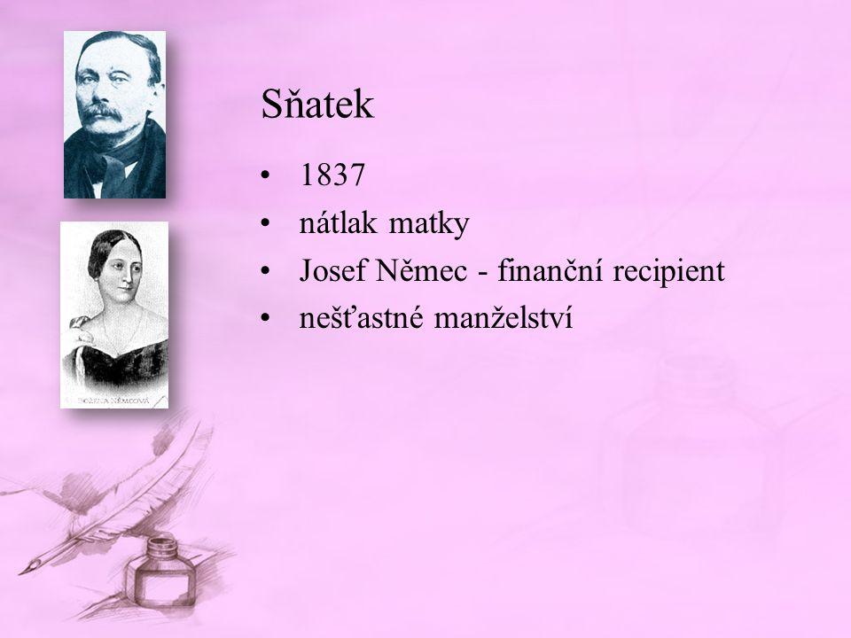Sňatek 1837 nátlak matky Josef Němec - finanční recipient nešťastné manželství