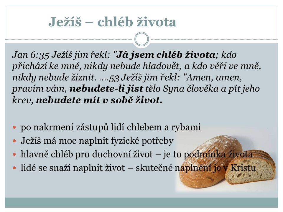 Ježíš – chléb života Jan 6:35 Ježíš jim řekl: