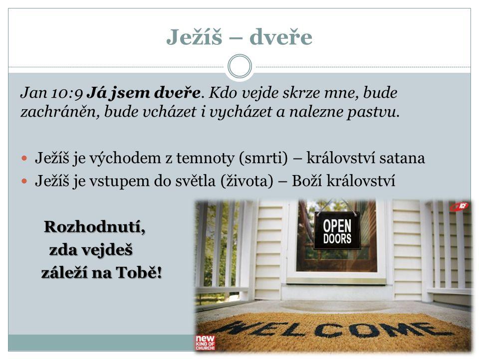 Ježíš – dveře Jan 10:9 Já jsem dveře. Kdo vejde skrze mne, bude zachráněn, bude vcházet i vycházet a nalezne pastvu. Ježíš je východem z temnoty (smrt