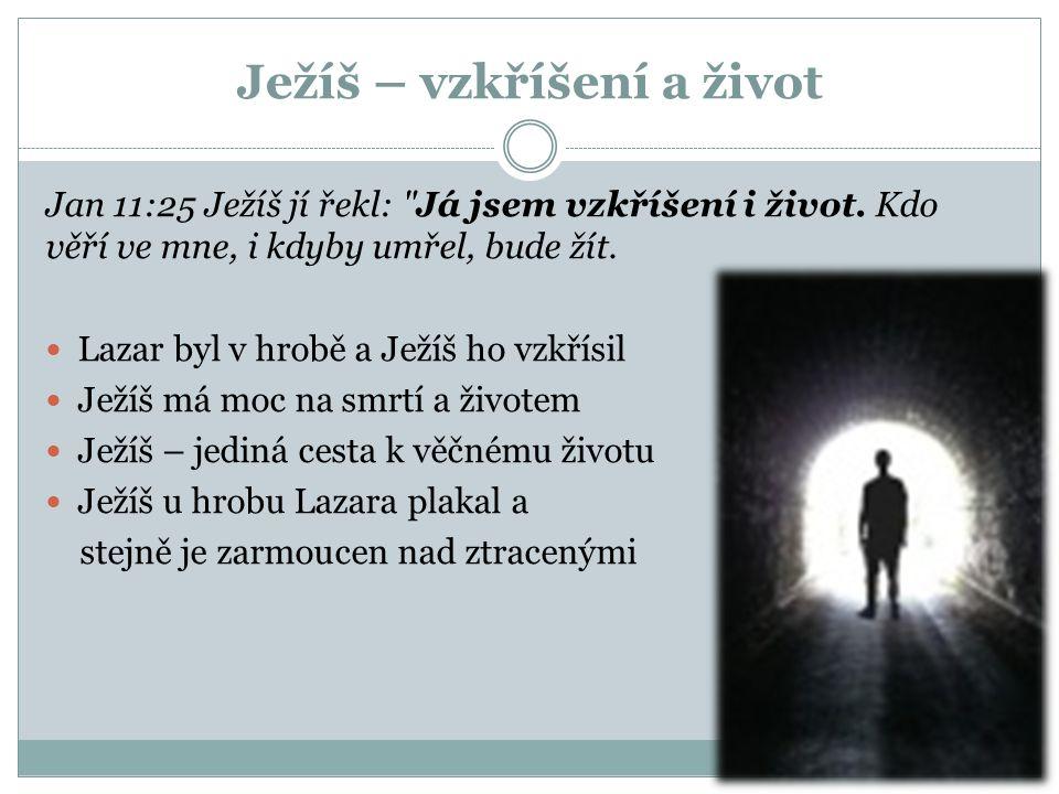 Ježíš – vzkříšení a život Jan 11:25 Ježíš jí řekl: