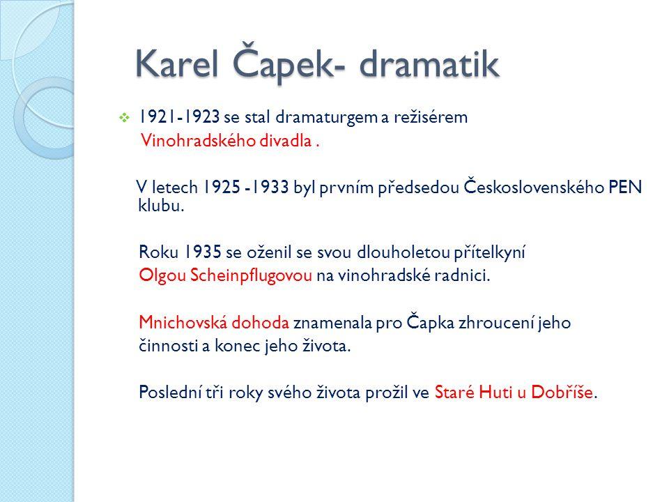 Karel Čapek- dramatik Karel Čapek- dramatik  1921-1923 se stal dramaturgem a režisérem Vinohradského divadla. V letech 1925 -1933 byl prvním předsedo