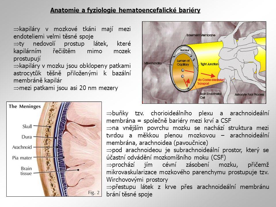  kapiláry v mozkové tkáni mají mezi endoteliemi velmi těsné spoje  ty nedovolí prostup látek, které kapilárním řečištěm mimo mozek prostupují  kapi