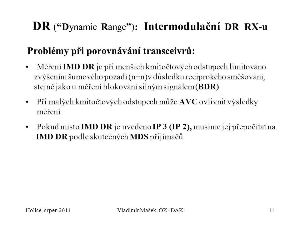 """DR (""""Dynamic Range""""): Intermodulační DR RX-u Problémy při porovnávání transceivrů: Měření IMD DR je při menších kmitočtových odstupech limitováno zvýš"""