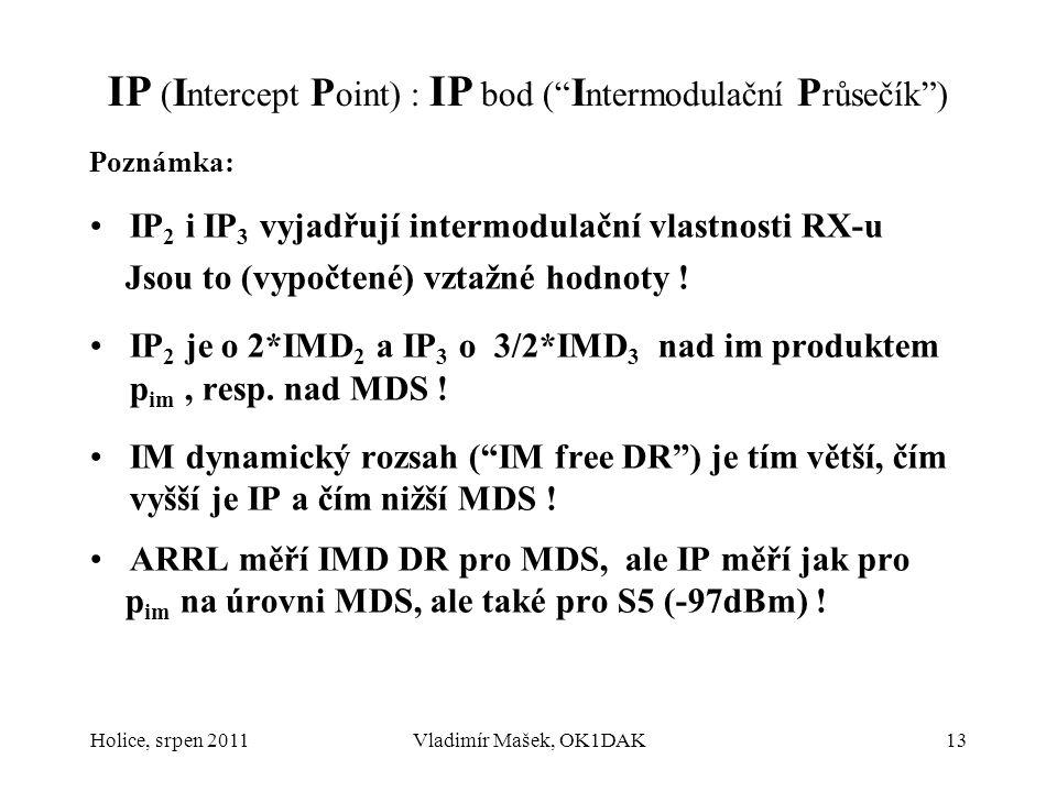 """IP ( I ntercept P oint) : IP bod ("""" I ntermodulační P růsečík"""") Poznámka: IP 2 i IP 3 vyjadřují intermodulační vlastnosti RX-u Jsou to (vypočtené) vzt"""