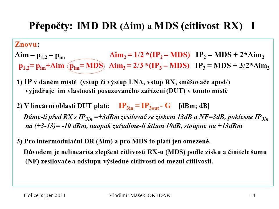 Holice, srpen 2011Vladimír Mašek, OK1DAK14 Přepočty: IMD DR (  im ) a MDS (citlivost RX) I Znovu:  im = p 1,2 – p im  im 2 = 1/2 *(IP 2 – MDS) IP 2