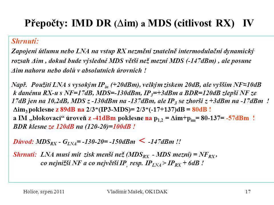 Holice, srpen 2011Vladimír Mašek, OK1DAK17 Přepočty: IMD DR (  im ) a MDS (citlivost RX) IV Shrnutí: Zapojení útlumu nebo LNA na vstup RX nezmění zna
