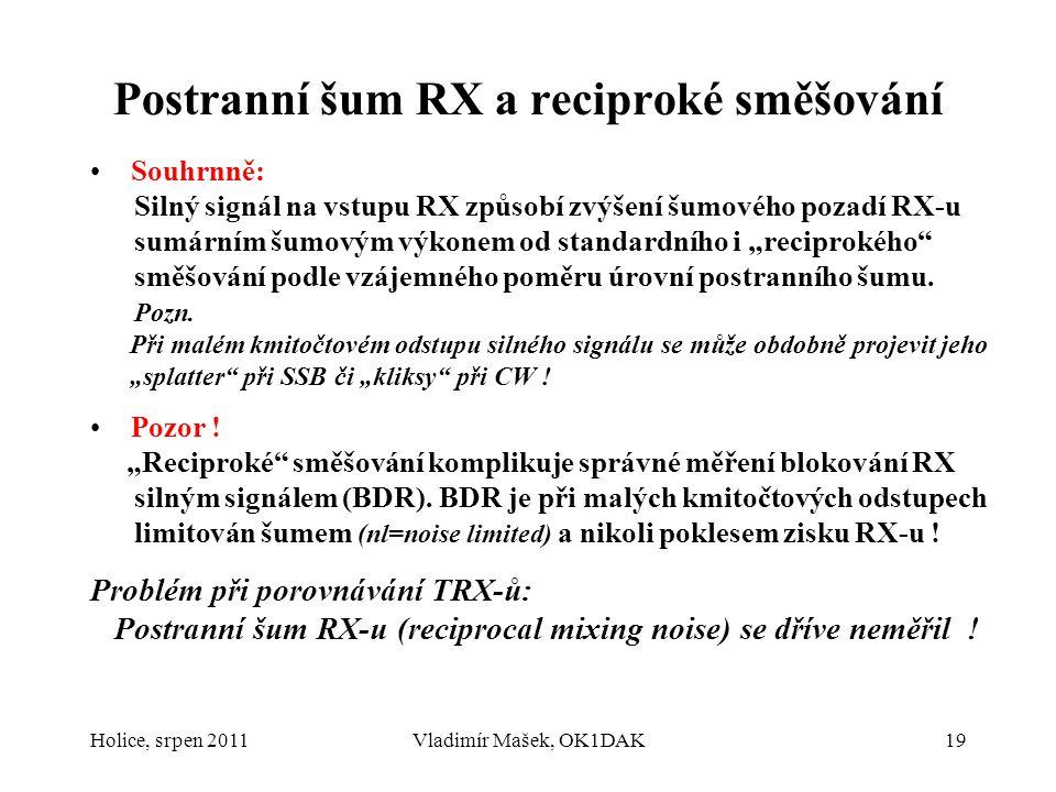 Postranní šum RX a reciproké směšování Souhrnně: Silný signál na vstupu RX způsobí zvýšení šumového pozadí RX-u sumárním šumovým výkonem od standardní