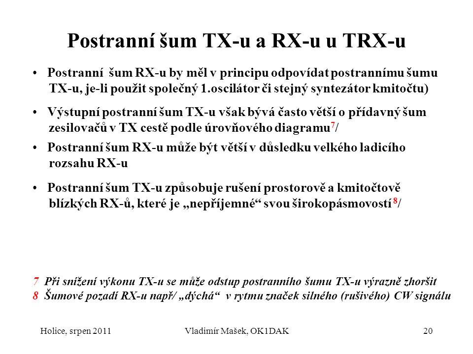 Postranní šum TX-u a RX-u u TRX-u Postranní šum RX-u by měl v principu odpovídat postrannímu šumu TX-u, je-li použit společný 1.oscilátor či stejný sy