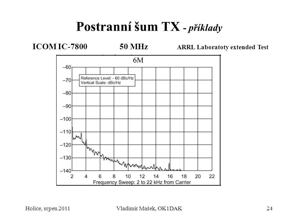 Holice, srpen 2011Vladimír Mašek, OK1DAK24 Postranní šum TX - příklady ICOM IC-7800 50 MHz ARRL Laboratoty extended Test